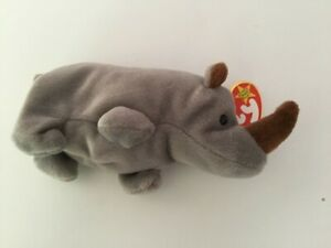 TY SPIKE Beanie Baby Rhinoceros MWMT 4th Gen Retired