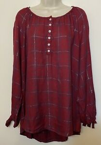 NWT-Max-Jeans-2X-Tunic-Top-Red-Plaid-Long-Sleeve-Button-Up-Scoop-Neck-Shirt