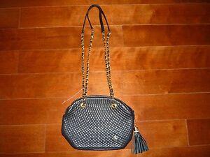 Vintage 1980/'s Guy Laroche Black /& Tan Leather-Look Saddle Style Shoulder Bag