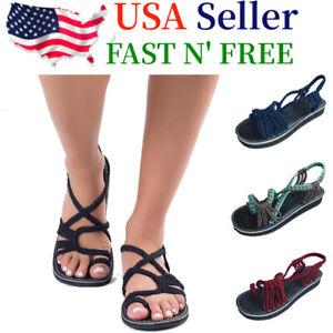 Bohemian-Flat-Flip-Flops-Bandages-Beach-Shoes-Summer-Casual-Sandals-Womens-US