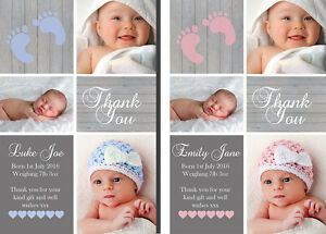 Personalised Photo New Baby Thank You Cards Boy Girl Birth Announcement