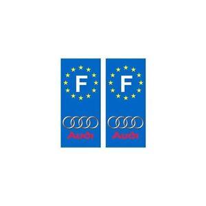 Audi numéro au choix voiture autocollant plaque fond noir droits