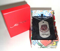 Mens Ed Hardy Bulldog Dog Tag Chain Necklace With Original Gift Box