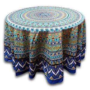 Ordinaire Details About Cotton Geometric Mandala Floral Tablecloth Round 88 Inches U0026  Square 70x70 Blue