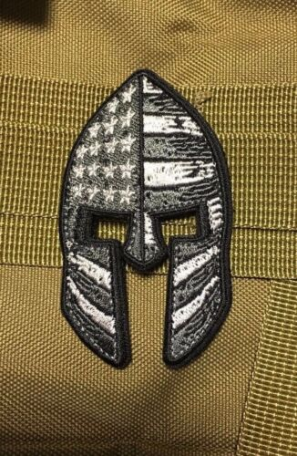 Army Spartan USA Flag MORALE PATCH Hook loop STEALTH Stars Police Combat