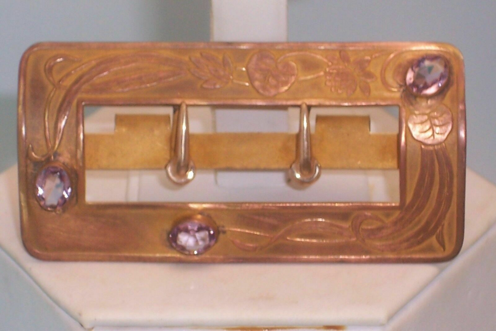 Vintage Art Nouveau Buckle Raised Design Lily Flower Bezel Set Amethyst Stones