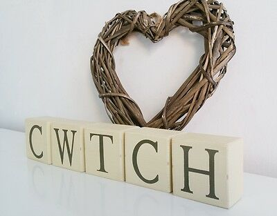 CWTCH, letter blocks, Shabby Chic, painted in Annie Sloan