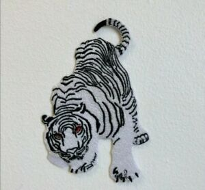 White Snow Tiger Embroidered Iron Sew on Patch j1847