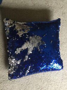 Reversible Sequins Square Pillow Royal Blue Silver Girls Boys Bedroom 15 Ebay