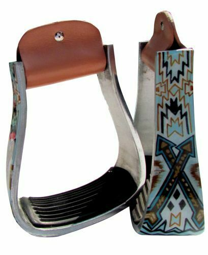 Showman Lightweight ALUMINUM Western STIRRUPS Navajo Arrow gold & TEAL Design