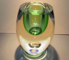 BERANEK Studio Art Glass Crystal Vase Emerald Green Hand Blown Czech Bohemia