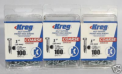 "Kreg SPS-C1 Self-Tapping 1"" Pocket Hole Screws Coarse 3 Pack 100 Count Per Box"