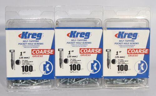 "Kreg SPS-C1 Self-Tapping 1/"" Pocket Hole Screws Coarse 3 Pack 100 Count Per Box"