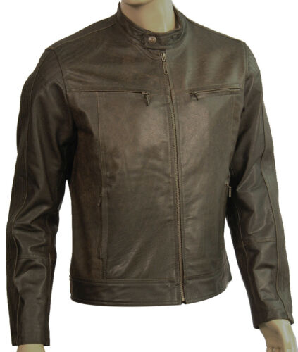 Biker Real Antique Style Mens Retro Brown Leather Jacket zFPxnB