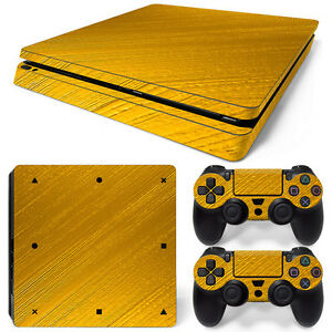 Video Game Accessories Industrious Sony Ps4 Playstation 4 Slim Skin Aufkleber Schutzfolie Set Video Games & Consoles Gold Motiv