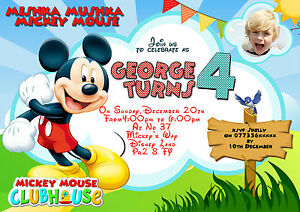 Details About Personalised Birthday Party Invitations Mickey Mouse 8 Cards Size A6