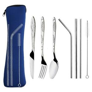 8pcs Portable Stainless Steel Tableware Dinnerware Travel Camping Cutlery Set