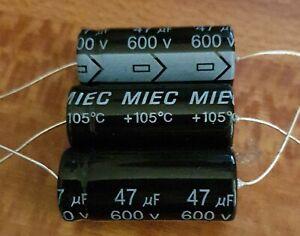 Valve-Tube-Radio-10x-MIEC-47uf-600-volt-electrolytic-capacitors-650-v-surge
