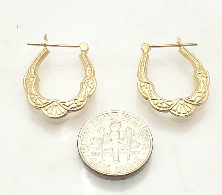 Graduated Textured Hoop Earrings Real 14K Yellow gold FREE SHIPPING