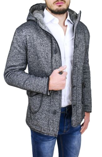 Manteau Veste Homme Casual Hivernal Gris 100% Made IN Italy Slim Fit en Laine