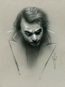 Details About 12 X 18 Joker Drawing Heath Ledger The Dark Knight Rises Pencil Airbrush