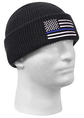 0d6ed1f9b57 Police Thin Blue Line Watch Cap Acrylic Winter Hat Rothco 50342