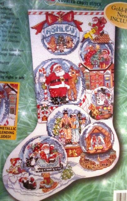 bucilla 84098 snow domes cross stitch christmas stocking kit - Cross Stitch Christmas Stockings