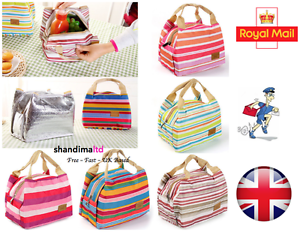 Thermal-Portable-Insulated-Cold-Canvas-Stripe-Picnic-Tote-Carry-Case-Lunch-Bag