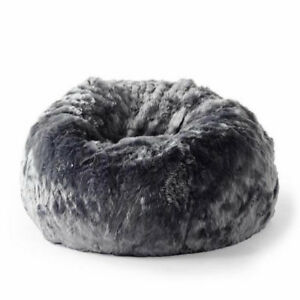 Terrific Details About Fur Beanbag Cover Soft Plush Charcoal Grey Cloud Bean Bag Lounge Chair New Andrewgaddart Wooden Chair Designs For Living Room Andrewgaddartcom