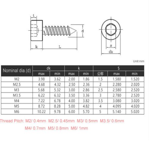 M2 M2.5 M3 M3.5 A2 304 Stainless Steel Allen Hex Socket Cap Self-Tapping Screws