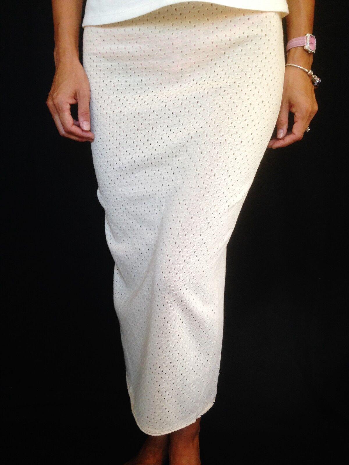 Ninamatita Beige Perforated 100% Cotton Elastic Waist Long Skirt Made in  S