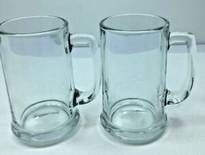 """Set Of 2 Libbey Libby  Clear Glass Beer Mug Stein Root Beer Float 14 oz. 5"""""""