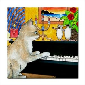 Large-Ceramic-tile-6x6-or-8x8-Cat-506-mouse-play-piano-funny-art-by-L-Dumas