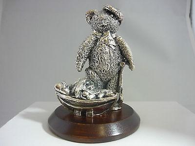 Superb Large Sterling Silver Gardening Bear Sculpture Statue In Original Box