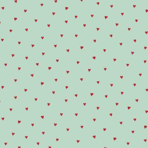 13.00 EUR//Meter rot mintgrün Beschichtete Baumwoll Stoff kleine Herzen