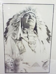 Details about RARE Vintage CHIEF WEASEL FEATHER PHOTOGRAPH Blackfoot INDIAN  by Ray SCHWEHIN