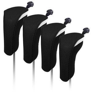 Black-Set-4PCS-Golf-Hybrid-Cover-Headcovers-For-Taylormade-Titleist-Adams-Cobra