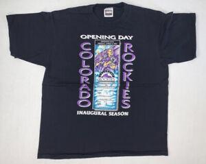 Vintage-90s-Colorado-Rockies-T-Shirt-Size-Men-s-XL-Black-Opening-Day-MLB
