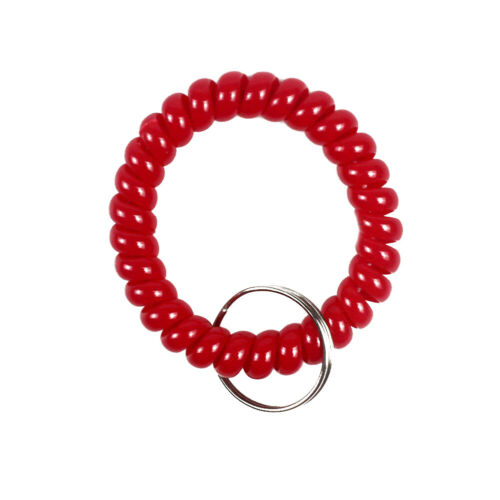 FA 6x Colorful Coil Stretchable Wristband Spiral Keychain Key Ring for Gym Pool
