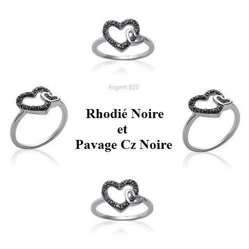 Bague Rhodié T58 Coeur Pavé Diamant Cz blacke silver Massif 925 de Dolly-Bijoux