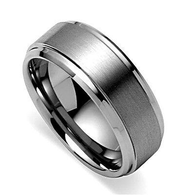 8MM Men's Tungsten Carbide Wedding Band with Raised Brush Inlay