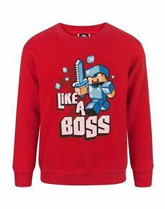 Long Sleeve Gamer Sweatshirt Gift Like A Boss Red Hooded Sweater Minecraft Boys Hoodie