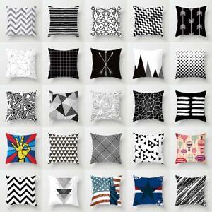 Black-White-Geometric-Throw-Cover-Pillow-Case-Cushion-Square-Case-Sofa-Decor