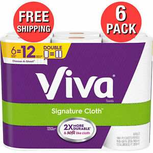 VIVA PAPER TOWELS SHIPS USPS 2-4 DAY PRIORITY 6 DOUBLE ROLLS = 12 BIG ROLLS