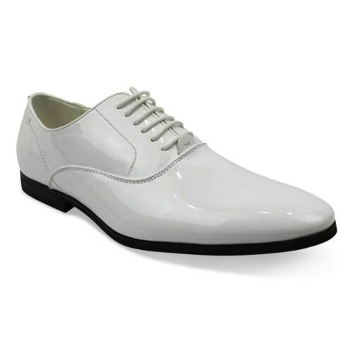 White Tuxedo Formal Round Toe Patent Leather Lace Up Dress Shoes Oxfords AZAR