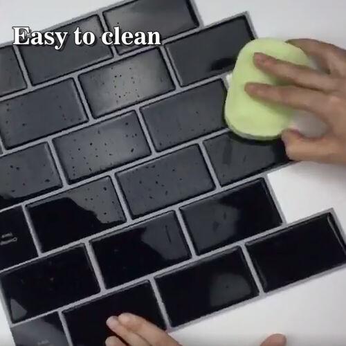 1//4//10x 3D Wall Tile Stickers Kitchen Bathroom Mosaic Self-adhesive Decor Home