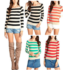 Casual-Scoop-Neck-Long-Sleeve-Striped-Sweater-S-L