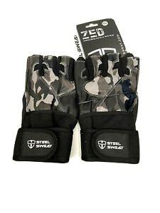 Steel Sweat Workout Gloves XXL CAMO ZED Wrist Wrap Weightlifting Gym Fitness