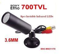 Mini Outdoor Invisible 8pcs Infrared Ir Led 940nm Cctv Bullet Camera, 700tvl