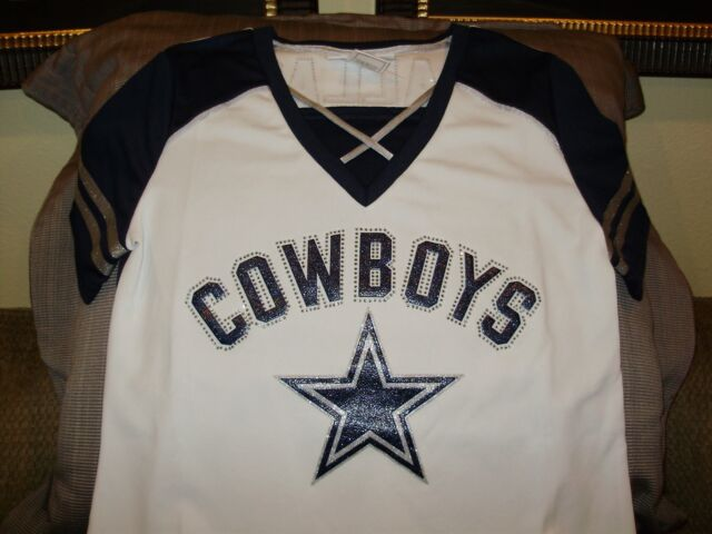 8bd81916c NFL Dallas Cowboys Sparkle Bling Rhinestones Fitted Jersey Shirt Women's  Large